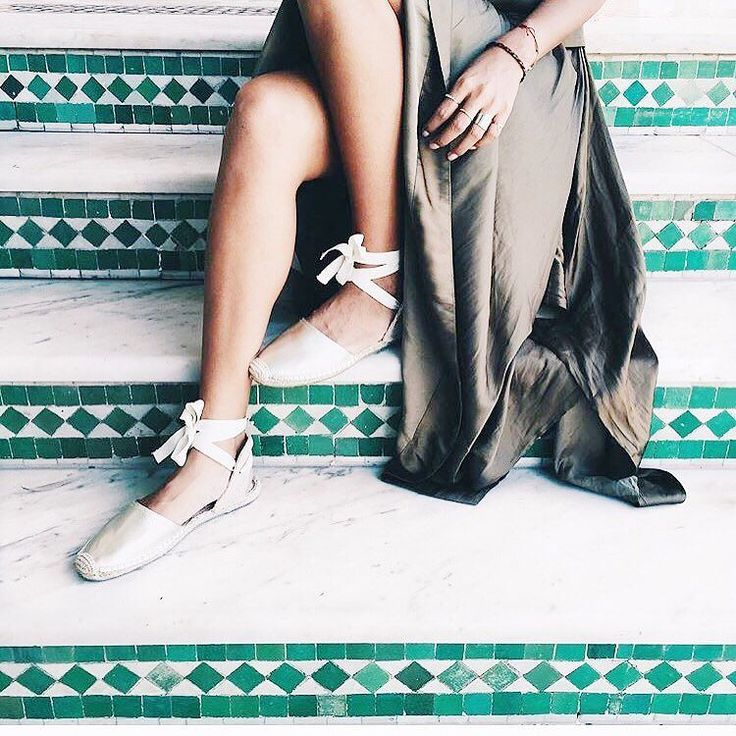 It's a wrapped delight.  #spring (Classic Metallic Leather Sandal Espadrilles by #soludos ) : @sincerelyjules