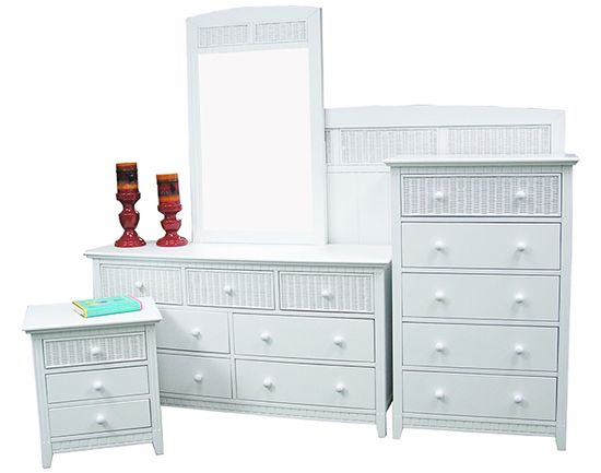 Summer Breeze Rattan White Bedroom Suite from Summit Design | White Wicker Bedroom Furniture | americanrattan.com