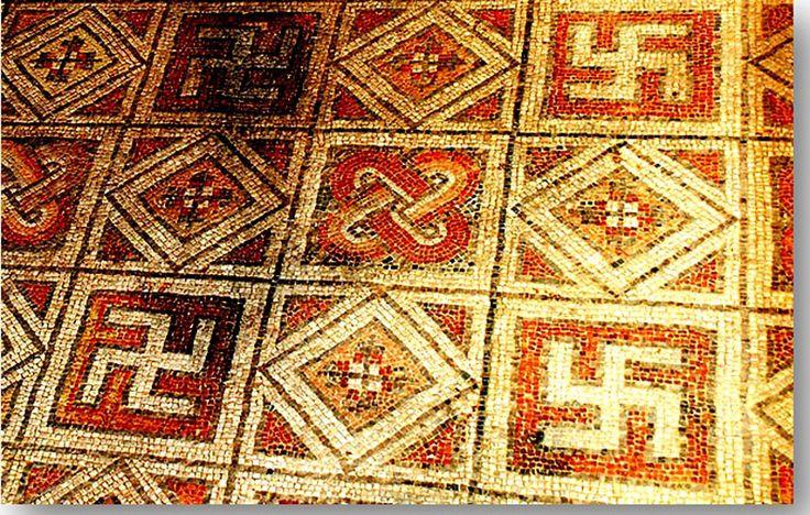 Hindu+Swastika   Antiguo piso de mosaico romano decorado con esvásticas en La Olmeda ...