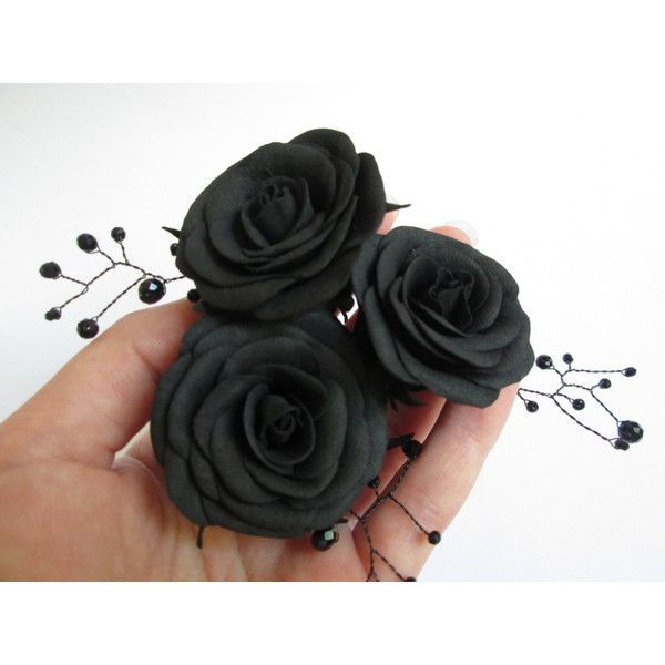 Black roses Halloween For hair With flowers Sugar skull Floral hair... (24 AUD) ❤ liked on Polyvore featuring accessories, hair accessories, floral hair pins, rose hair clip, floral hair clips, goth hair accessories and flower hair accessories