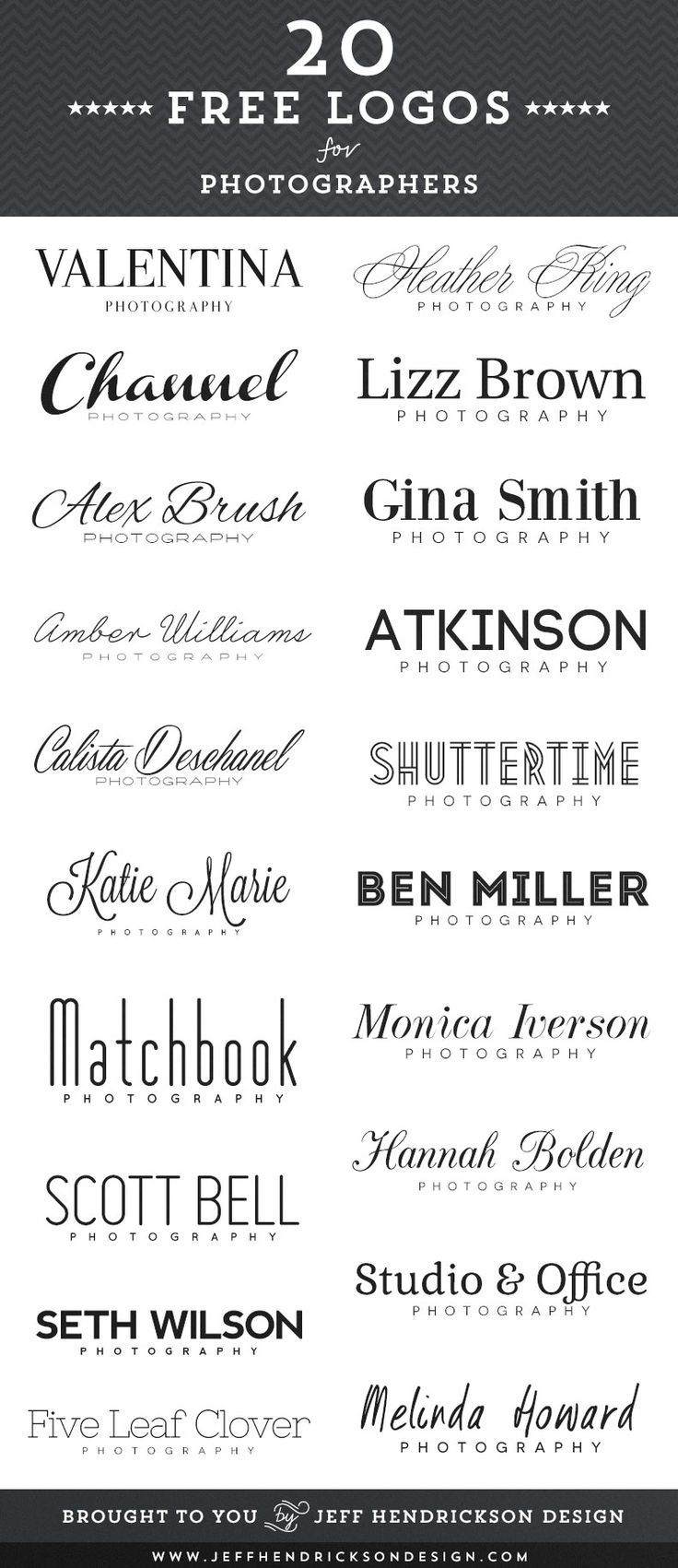 20 Free Logos for Photographers is all about the beautiful simplicity, not the freebies. Good idea for a simple project.