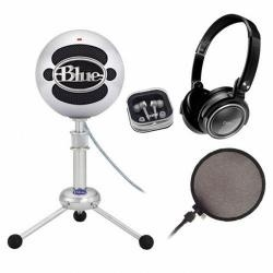 Snowball mic and popfilter system. Use for all recording/podcasting!