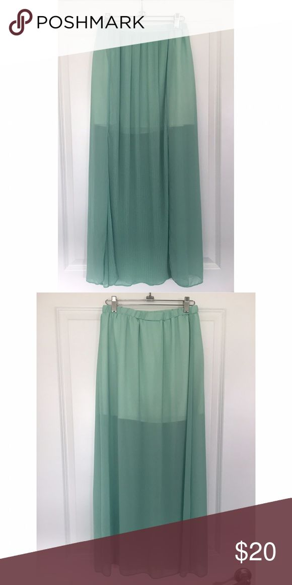 Mint flowy maxi skirt Originally from Sabo Skirt. Short lining with sheer mint maxi fabric Skirts Maxi
