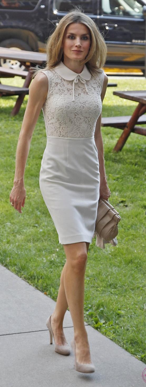 Letizia en USA, junio 2012. Vestido by Oky Coky