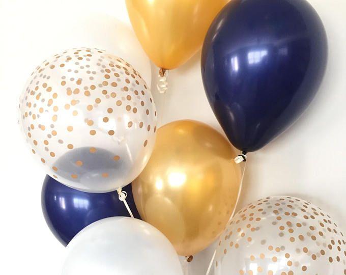 Navy Balloons | Navy and Gold Balloons |Navy and White Balloons | Baby Shower Decor | Blue Birthday Balloons | Navy Bridal Shower Decor