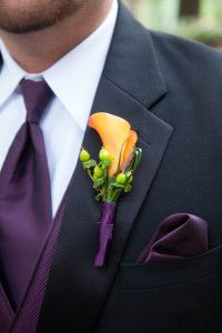 Orange and Purple Wedding. Except for a lighter purple color tie