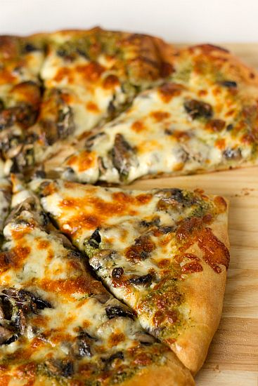 Portobello Pesto Pizza | Brown Eyed Baker Ever heard of Church Brew Woks in Pittsburgh? Recipe is a variation of one of their pizzas.