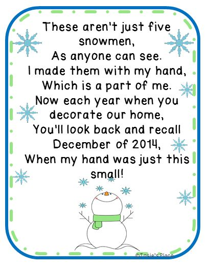 FREE Five Snowmen Poem and ornament idea!