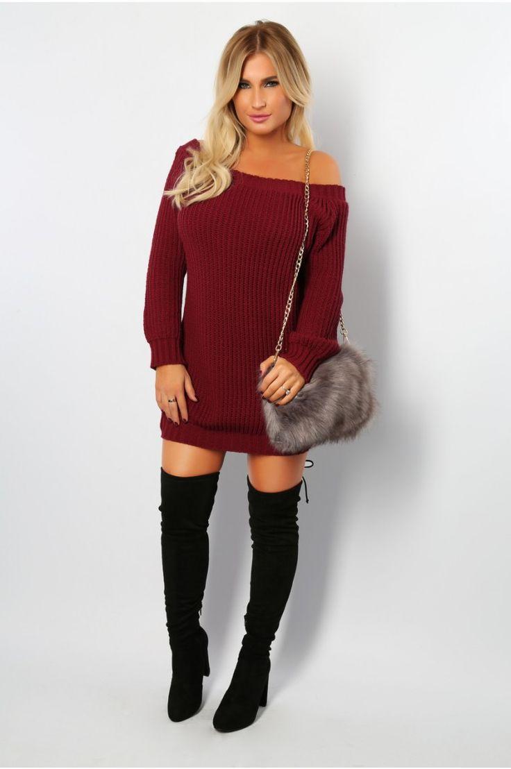 Billie Faiers Wine Bardot Neck Sweater Dress