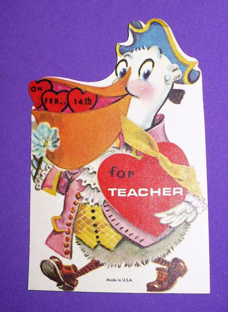 VINTAGE VALENTINE'S DAY PELICAN FOR TEACHER CARD UNUSED WITH ENVELOPE