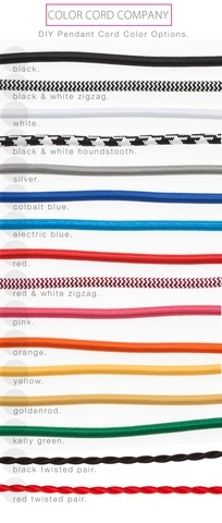 !!!!! pendant cord kits for $20-$25 in great colors ..   Color Cord Company   Color Sample Pack - Coupon Included