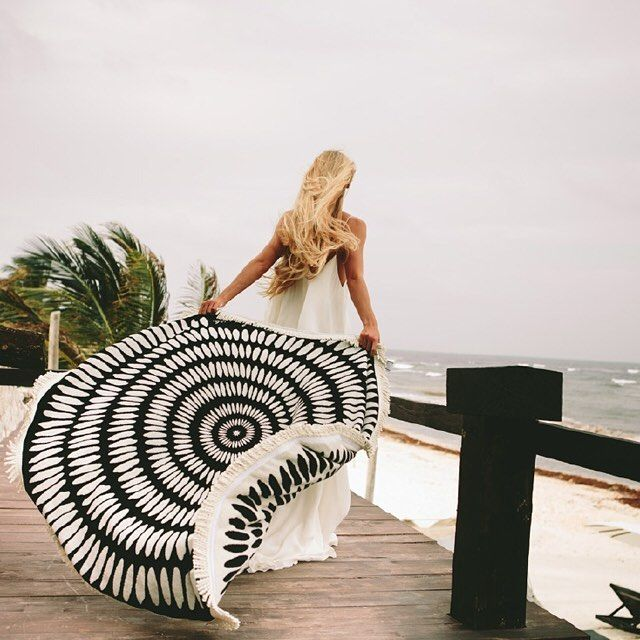 Salt Living | For those who live by the sea. The Tulum roundie by #thebeachpeople #roundie #roundtowel #beachtowel #tulum