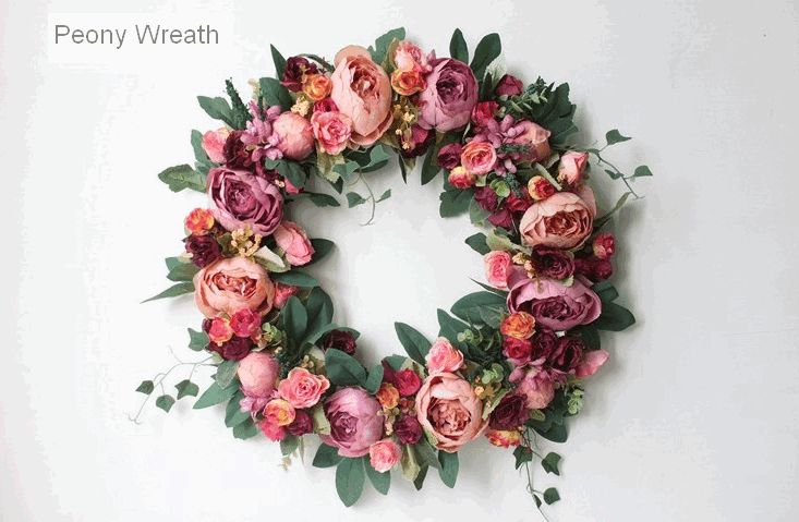 Wine Red Peony Flower Wreath, Artificial Silk Flower Wreath for Wedding and Home Decoration