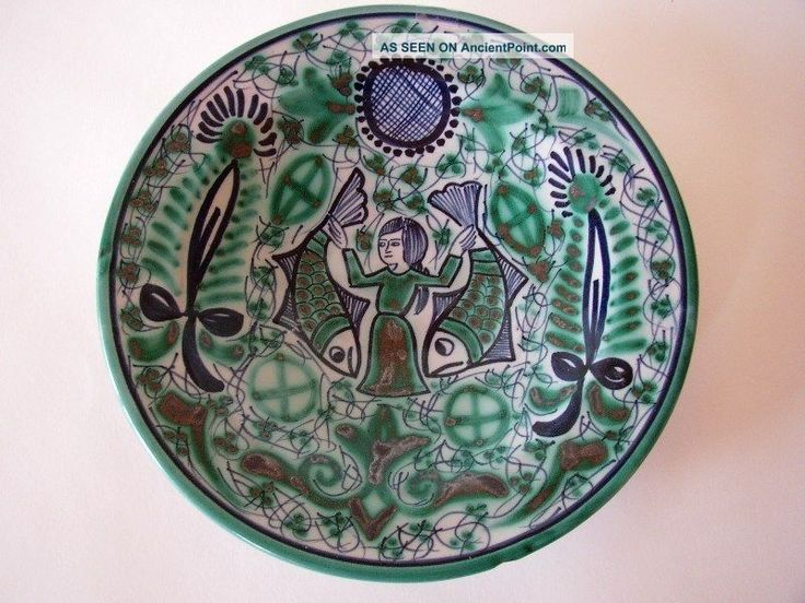 Faience Majolica Woman With Two Fishes Plate Plates & Chargers photo
