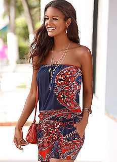 Navy & Red Print Beach Jumpsuit by LASCANA