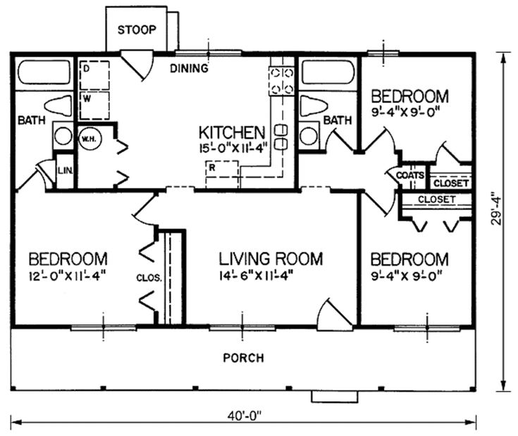 Ranch style plan 66 269 split bedrooms 960 sq ft 3 for Wide ranch house plans