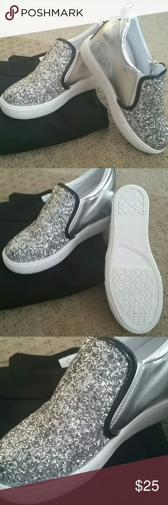 Sparkly Wedge Tennis Shoes New* Price Firm I bought these shoes ,because they were so cute! They are a wedge tennis shoe and I only tried them on. Too young for me!.. Sport Shoes Wedges