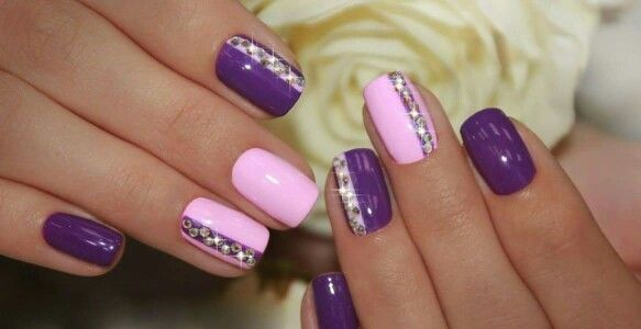 Purple and pink nails with gems