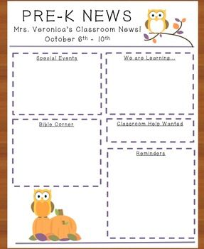 October Owl Newsletter (one for each month!)
