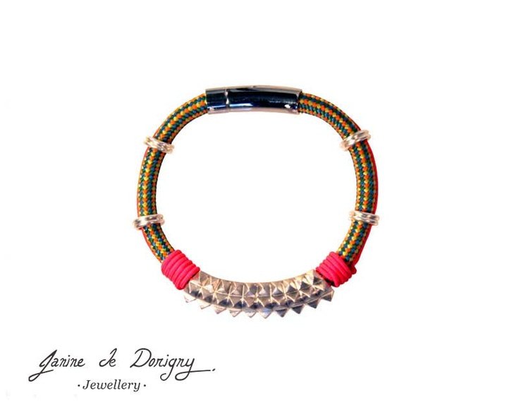 $325 One-of-a-kind piece made of silver, mountain climbing cord, fluo-pink cord & a stainless steel clasp. http://www.janinededorigny.com/product/color-spikes/