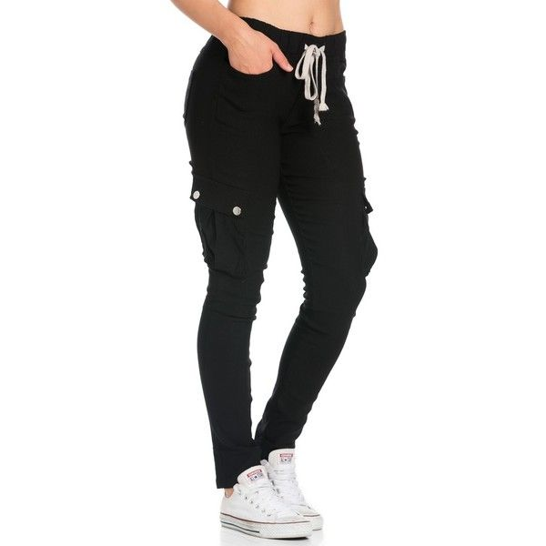 Drawstring Skinny Cargo Pants in Black ($27) ❤ liked on Polyvore featuring pants, elastic waist pants, cotton cargo pants, cotton stretch pants, skinny pants and stretchy pants