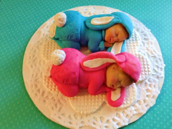 These Two Twin Big Baby Bunnies are all by CakeToppersPlus on Etsy, $45.00