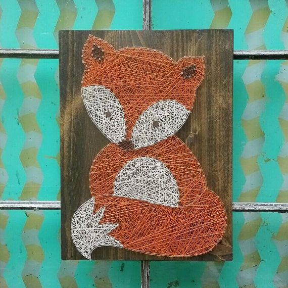 String Art Fox, Woodland Nursery Art, Nail and String Art, Wood Fox Wall Hanging, 3D Wall Art, String Art Animal, Custom Baby Shower Gift