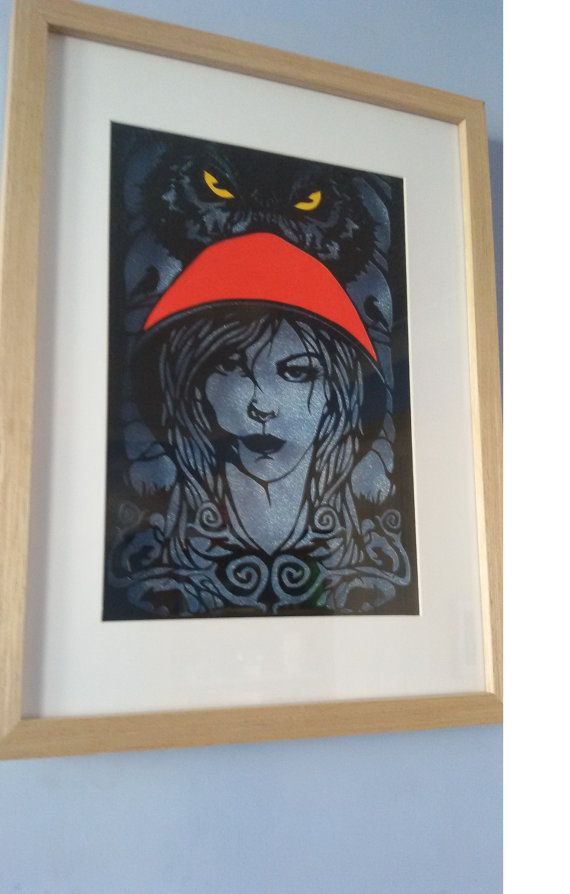 Red Riding hood and wolf  Papercut  hand made by DreamInPaper27