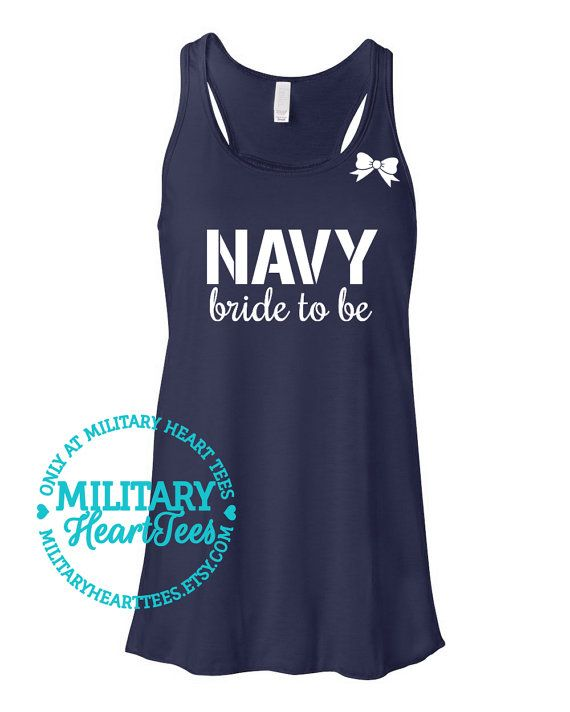 Custom Navy Bride to Be Racerback Tank Top by MilitaryHeartTees