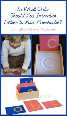 Ideas from Montessori education on the best order to use when introducing letters to your preschooler; post includes lots of Montessori phonics resources about teaching letter sounds
