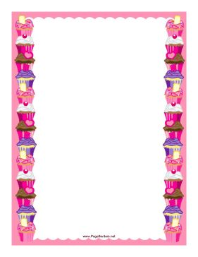 This printable border features a column of smaller colorful cupcakes along both edges, with a pink background. Free to download and print.
