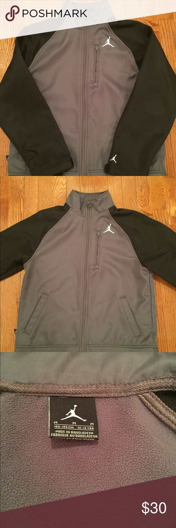 Boys Air Jordan Jacket Stylish Black and Grey Zip Front Air Jordan Jacket Nice With jeans joggers sweatpants or track pants Air Jordan Jackets & Coats
