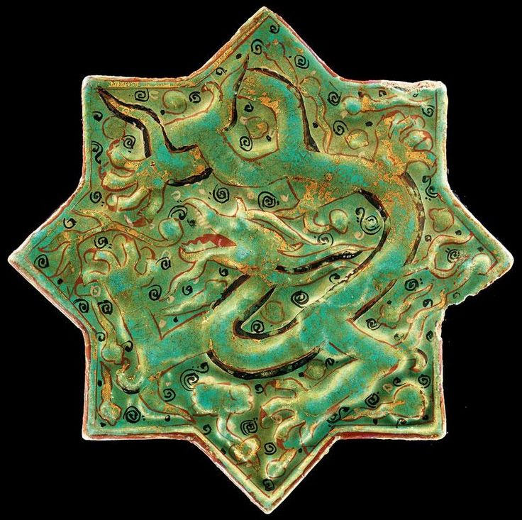 Country of Origin: Ottoman Empire Auction Catalogue Description: Arts of the Islamic World SALE L06220 LOT 91 SESSION 1 | 05 Apr 06 10:30 AM. London, New Bond Street A MINAI OR LAJVARDINA POTTERY STAR TILE, PERSIA, CIRCA 1275