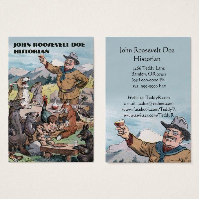 130 best custom teacher business cards images on pinterest teacher roosevelt toasts wildlife historian business card reheart Image collections