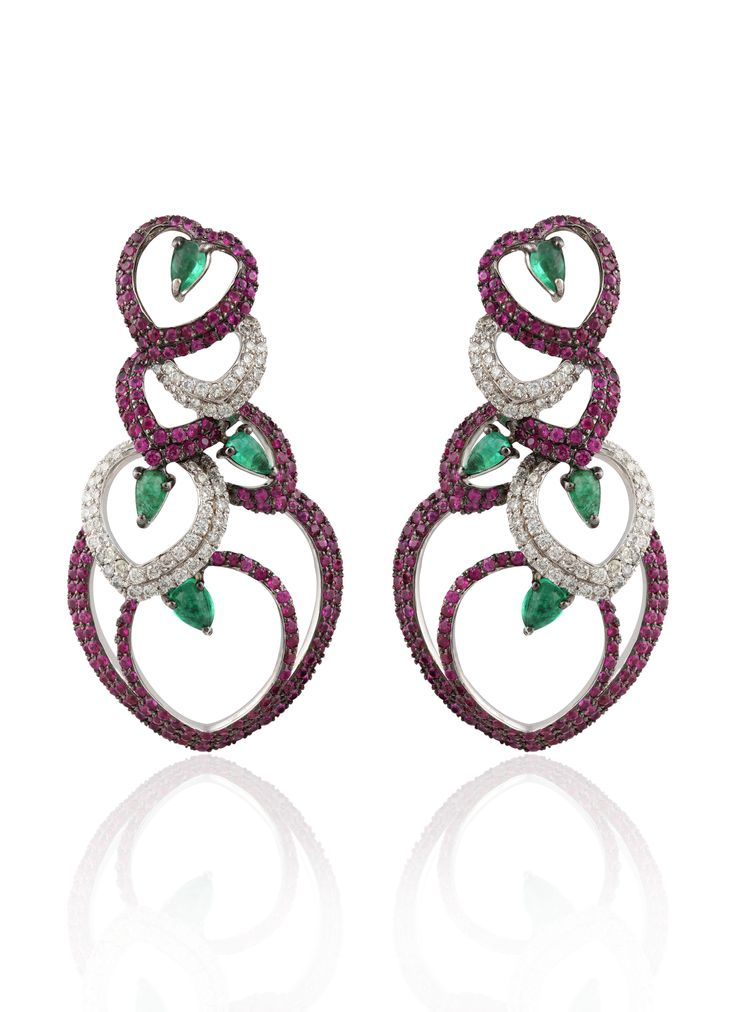Mirari's Captivating Hearts Collection  Earrings ~ Studded with diamonds and rubies with emeralds in triangle cuts