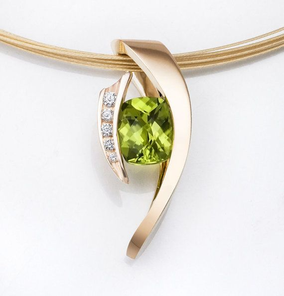 14k gold, peridot and diamond pendant designed by David Worcester for VerbenaPlaceJewelry.Etsy.com