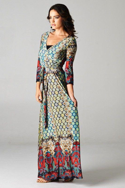 Cap Sleeve Print Maxi Dress