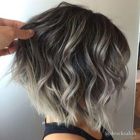 Idées de couleur de cheveux courts, Cheveux Balayage Blond argenté