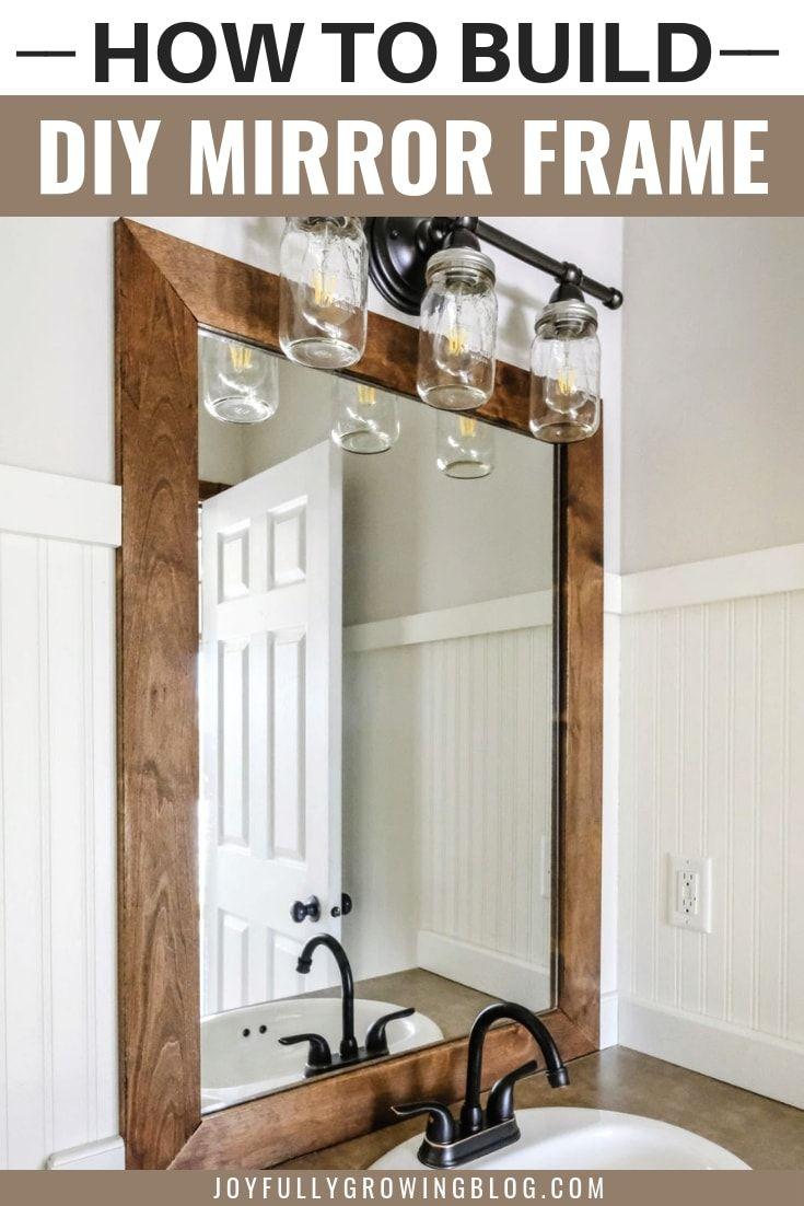 How To Add A Diy Wood Frame To A Bathroom Mirror Wood Framed Bathroom Mirrors Bathroom Mirror Frame Rustic Bathroom Diy