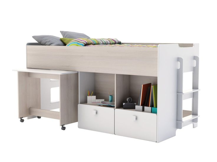 TEAM Säng m. Skrivbord Vit/Akacia - Barnsängar - Barnmöbler - I