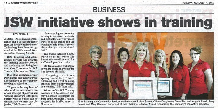 JSW initiative shows in training. Article in today's South Western Times about our WA Training Initiative 2012 award.