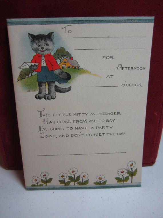Adorable unused 1930's children's party invitation by puffadonna
