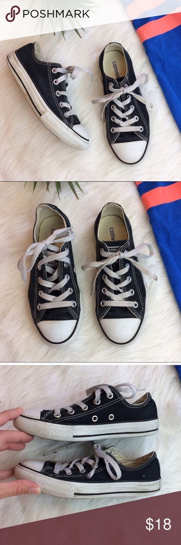 Kids Black All Star Converse Shoes Size 13 Kids size little boys US 13 black all star Converse Shoes. Could use a fresh pair of laces but are in excellent condition besides that. Converse Shoes Sneakers