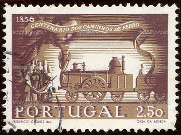 PORTUGAL – CIRCA 1956: Stamp to commemorate the centenary of the Railway