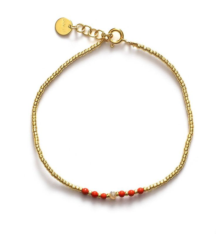 ANNI LU BG01 bracelet / CorailBracelet with Gold beads and Semiprecious Gemstone: Korean Pine and Crystal in Maize Jade.Clasp and extender chain in…