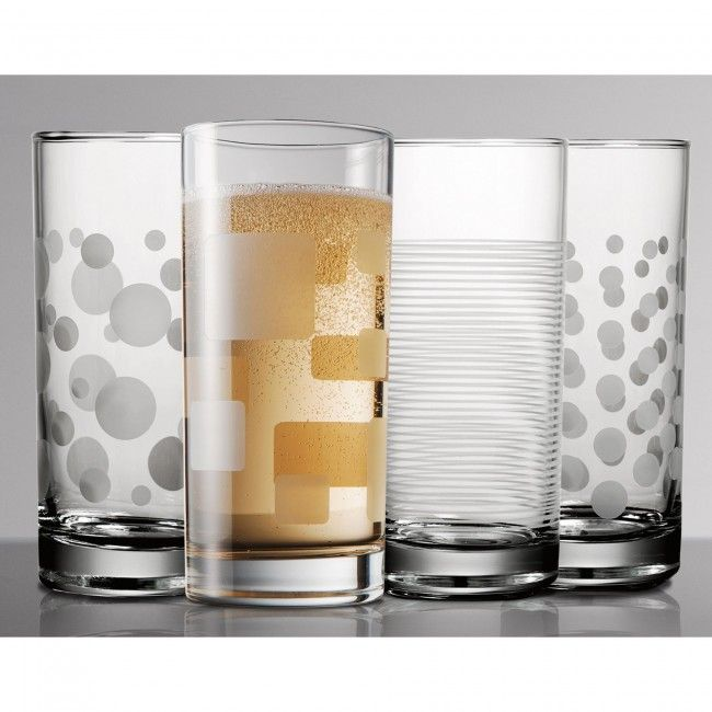 Update your glassware with this set of stylish etched Pasabahce Trend Hi-Ball glasses. Each glass in the set is unique, making it easy to remember which glass is yours when guests are over.