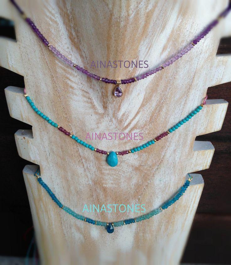 Collar gargantilla  ajustable con piedras semipreciosas de AINASTONES en Etsy