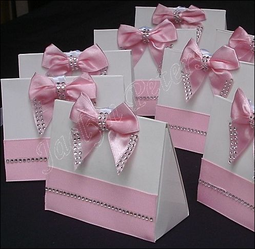 elegant purse favor box pink rhinestone bow custom colors