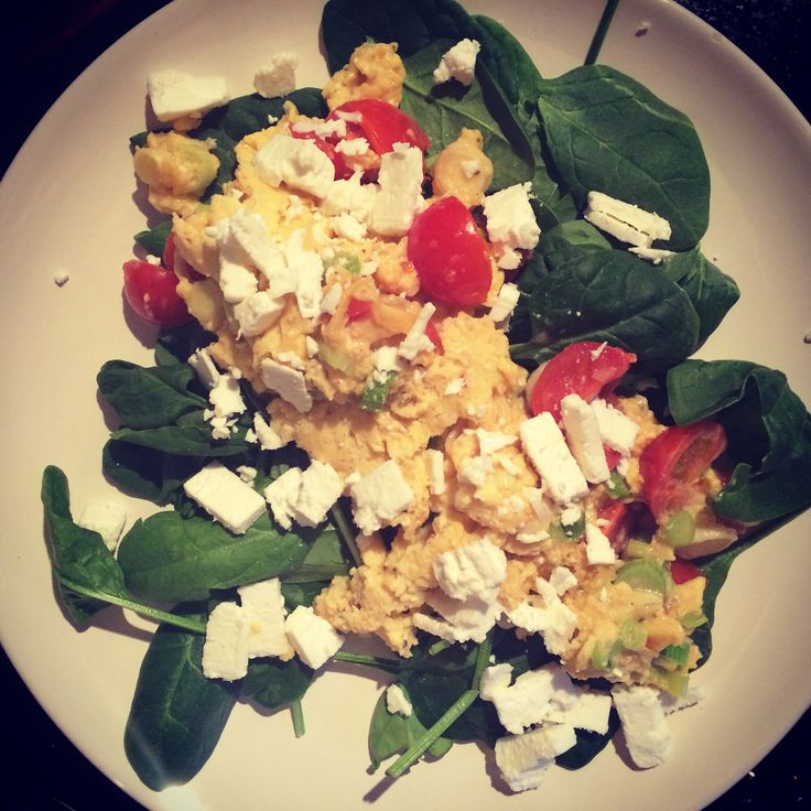 Breakfast - Cycle 1 Day 2 - Scrambled egg, baby tomatoes, spring onion and spinach leaves.