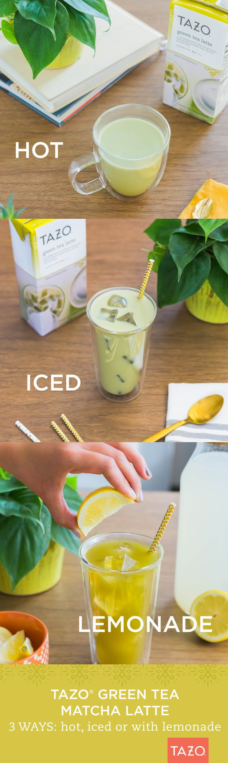 Mix it up with our Tazo Green Tea Matcha Latte recipes. Try it hot. Try it over ice. Better yet, try with lemonade!